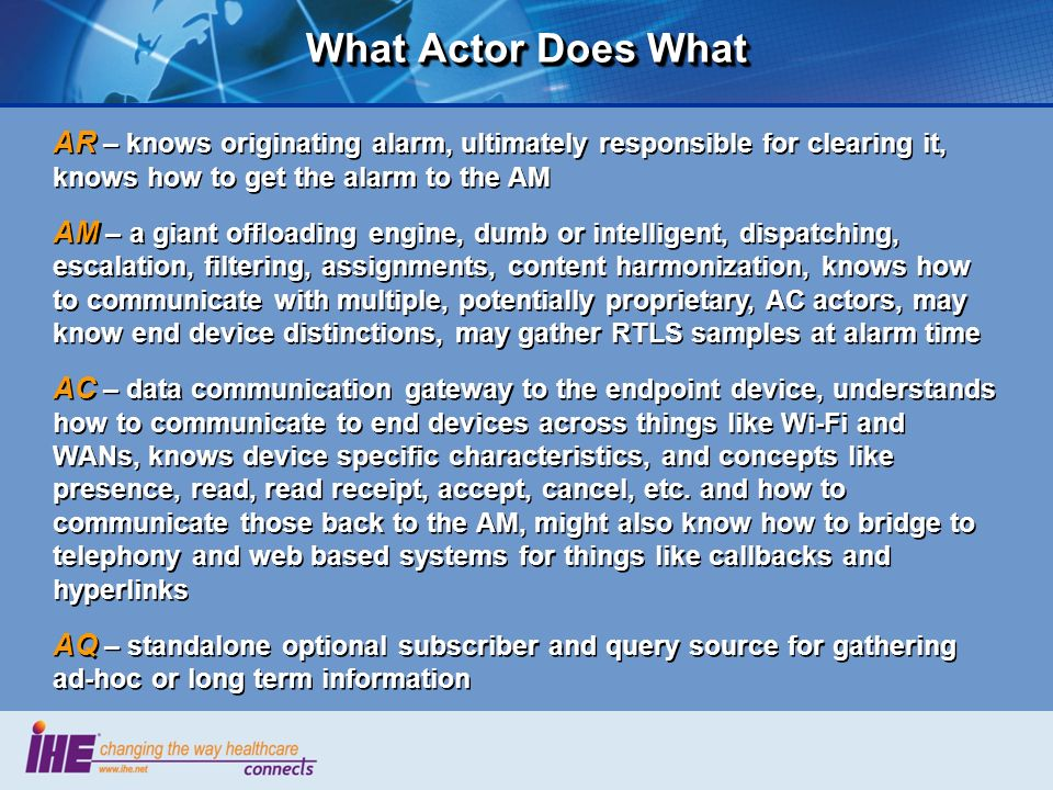 What Actor Does What AR – knows originating alarm, ultimately responsible for clearing it, knows how to get the alarm to the AM AM – a giant offloadin