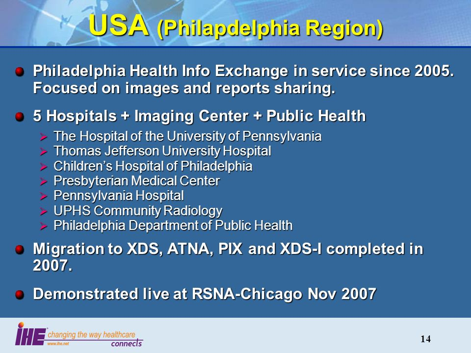 14 USA (Philapdelphia Region) Philadelphia Health Info Exchange in service since 2005.