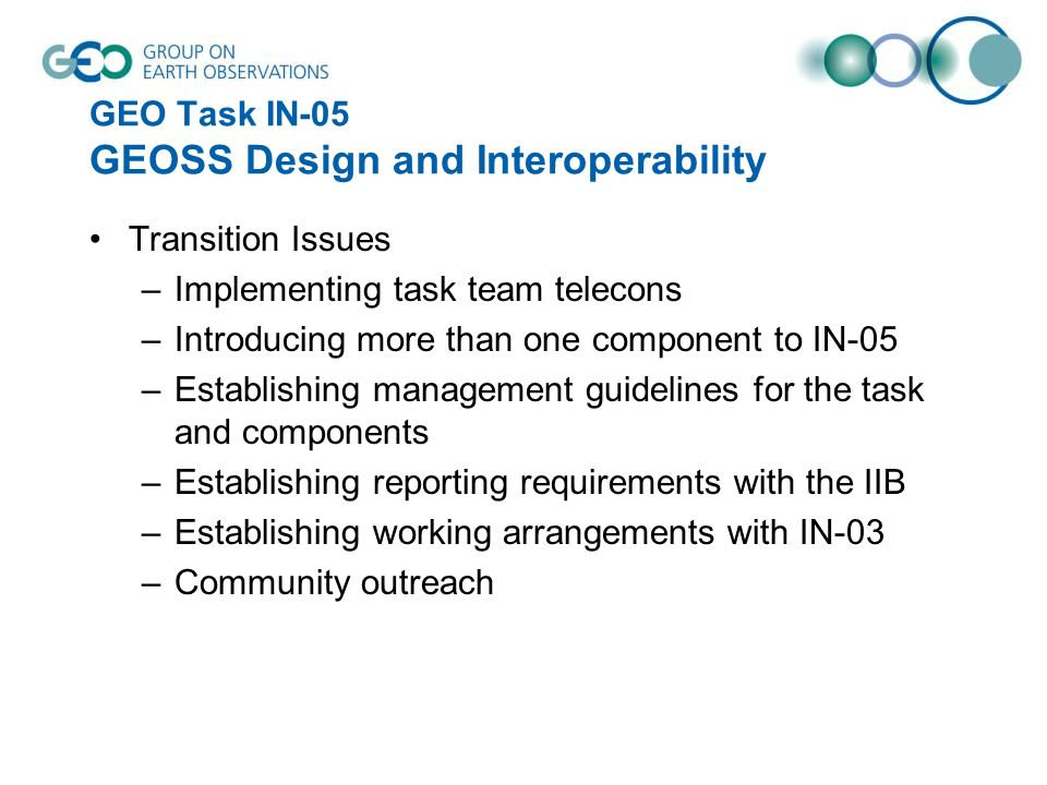 GEO Task IN-05 GEOSS Design and Interoperability Transition Issues –Implementing task team telecons –Introducing more than one component to IN-05 –Establishing management guidelines for the task and components –Establishing reporting requirements with the IIB –Establishing working arrangements with IN-03 –Community outreach