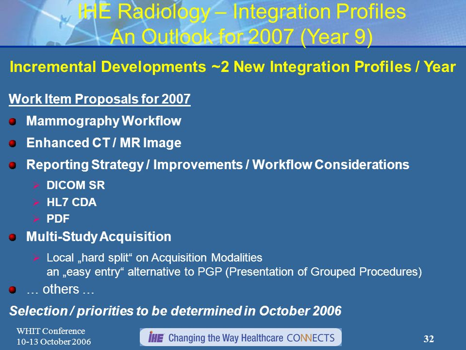 WHIT Conference 10-13 October 2006 31 IHE Radiology – Integration Profiles Newest Additions in 2006 (continued) Content Profiles (continued) Image Fus