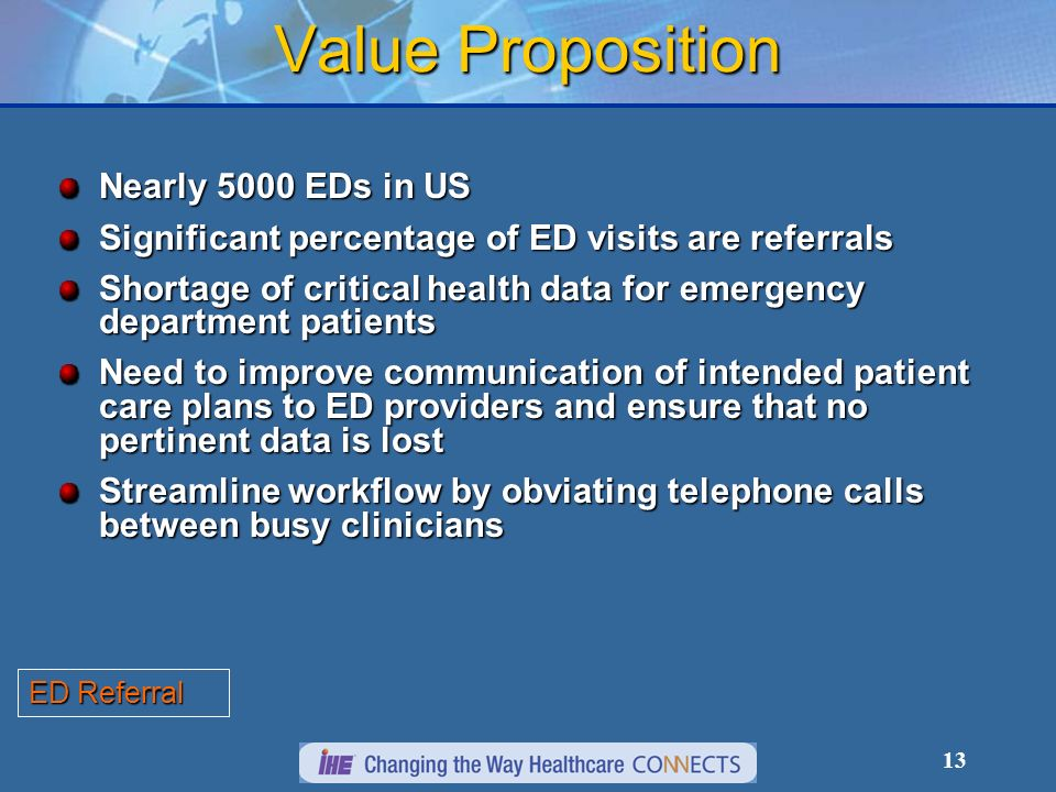 13 Value Proposition Nearly 5000 EDs in US Significant percentage of ED visits are referrals Shortage of critical health data for emergency department