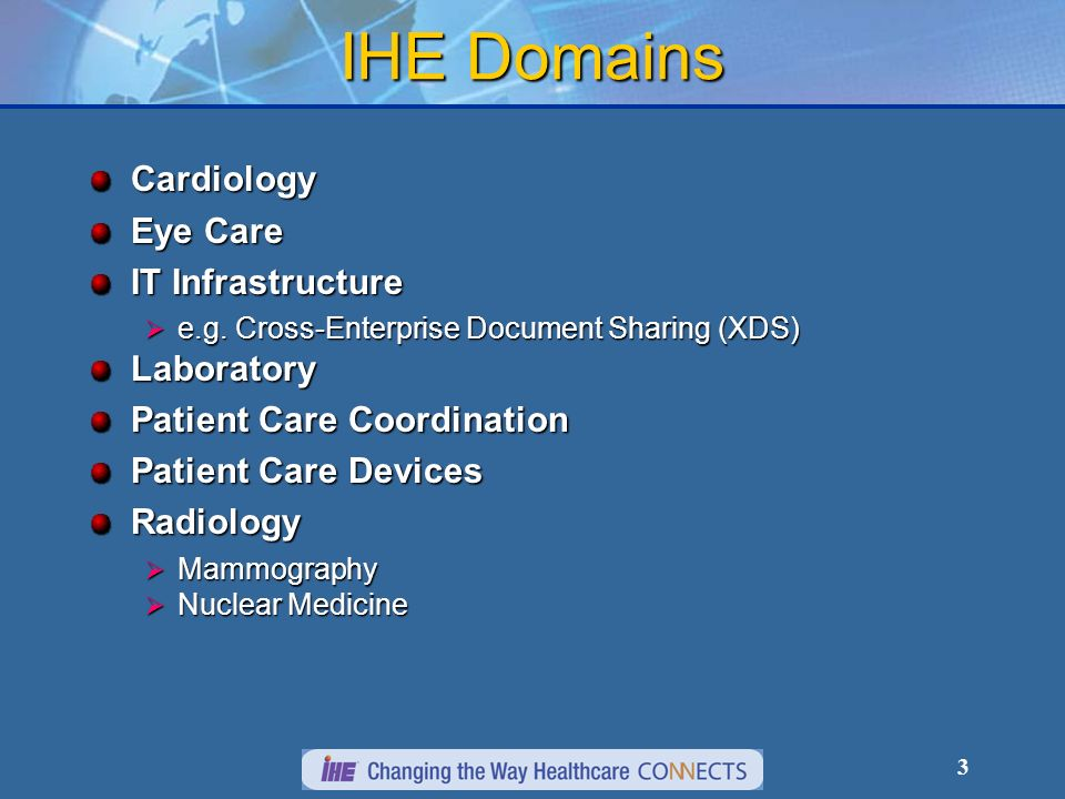 3 IHE Domains Cardiology Eye Care IT Infrastructure e.g. Cross-Enterprise Document Sharing (XDS) e.g. Cross-Enterprise Document Sharing (XDS)Laborator