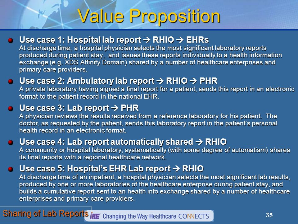 35 Value Proposition Sharing of Lab Reports Use case 1: Hospital lab report RHIO EHRs At discharge time, a hospital physician selects the most significant laboratory reports produced during patient stay, and issues these reports individually to a health information exchange (e.g.