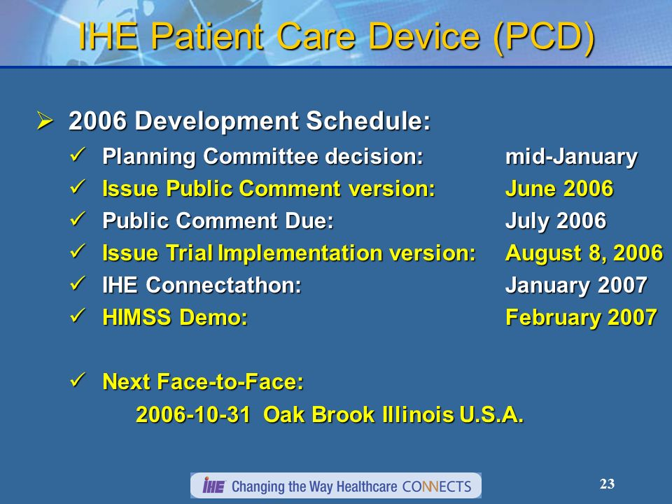 23 IHE Patient Care Device (PCD) 2006 Development Schedule: 2006 Development Schedule: Planning Committee decision:mid-January Planning Committee decision:mid-January Issue Public Comment version: June 2006 Issue Public Comment version: June 2006 Public Comment Due:July 2006 Public Comment Due:July 2006 Issue Trial Implementation version: August 8, 2006 Issue Trial Implementation version: August 8, 2006 IHE Connectathon: January 2007 IHE Connectathon: January 2007 HIMSS Demo: February 2007 HIMSS Demo: February 2007 Next Face-to-Face: Next Face-to-Face: Oak Brook Illinois U.S.A.