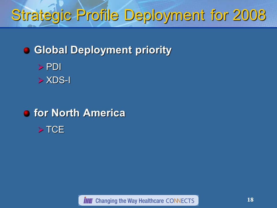 18 Strategic Profile Deployment for 2008 Global Deployment priority PDI PDI XDS-I XDS-I for North America TCE TCE