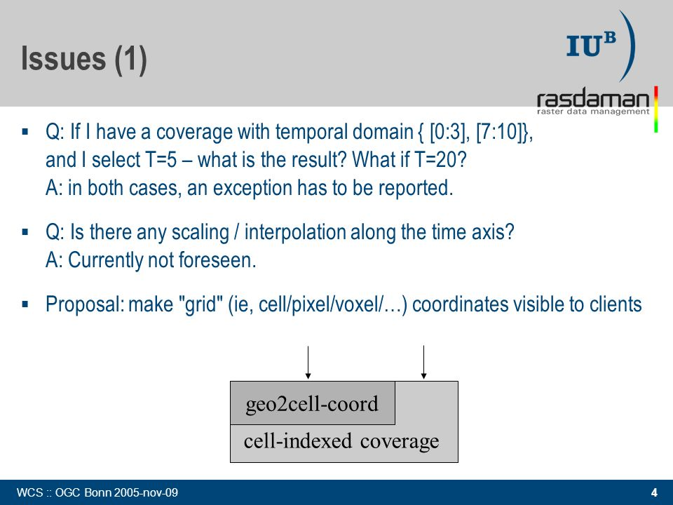 4 WCS :: OGC Bonn 2005-nov-09 Issues (1) Q: If I have a coverage with temporal domain { [0:3], [7:10]}, and I select T=5 – what is the result? What if