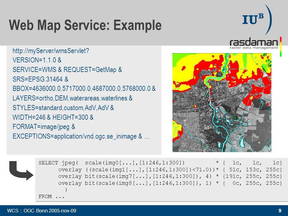 9 WCS :: OGC Bonn 2005-nov-09 Web Map Service: Example http://myServer/wmsServlet? VERSION=1.1.0 & SERVICE=WMS & REQUEST=GetMap & SRS=EPSG:31464 & BBO