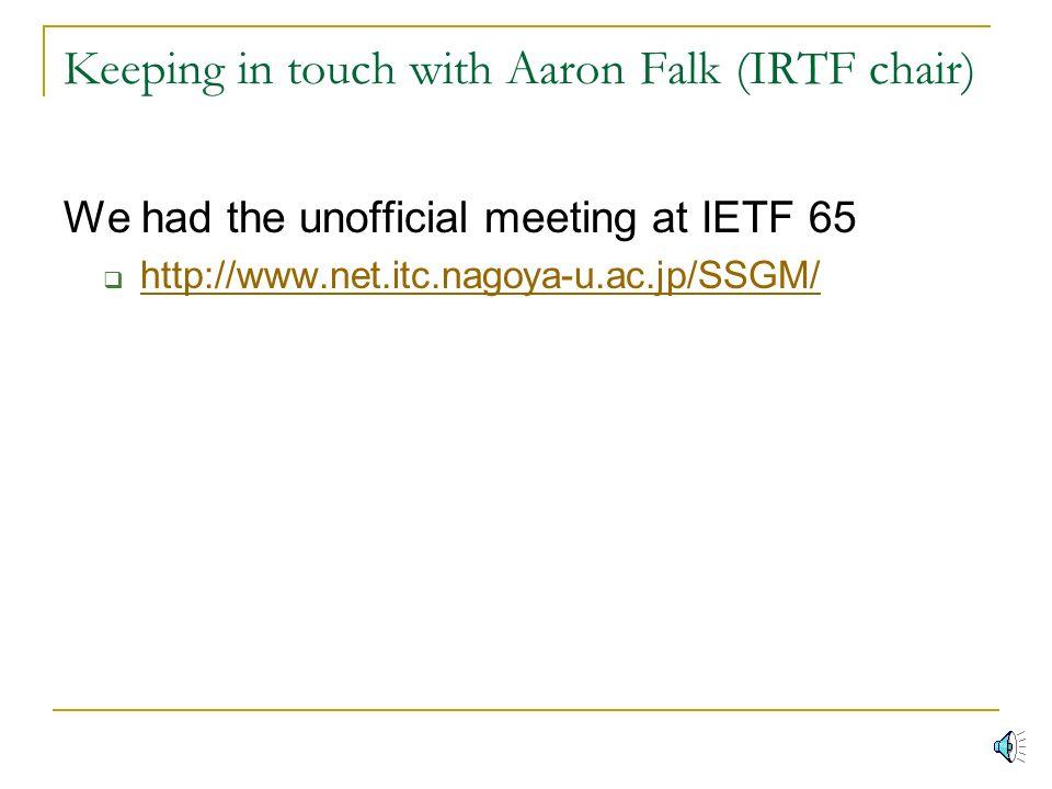 Preparing IRTF-RG (Internet Research Task Force)