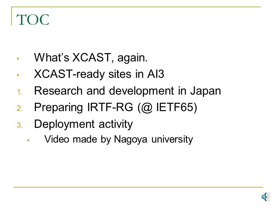 XCAST update Yuji - UG- IMAI (ug@xcast.jp) Nobuo Kawaguchi (kawaguti@itc.nagoya-u.ac.jp) Eiichi MURAMOTO (muramoto@wide.ad.jp) WIDE XCAST WG / XCAST fan club Japan SOI-ASIA/AI3 meeting 2006 Spring xcast@ai3.net