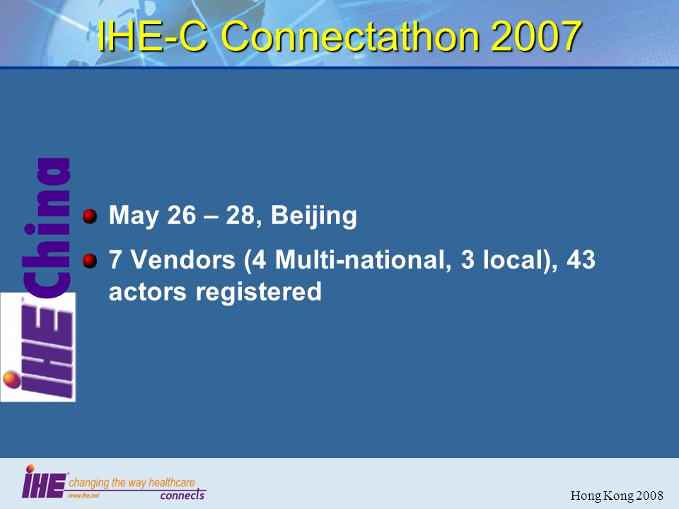 China Hong Kong 2008 IHE-C Connectathon 2007 May 26 – 28, Beijing 7 Vendors (4 Multi-national, 3 local), 43 actors registered