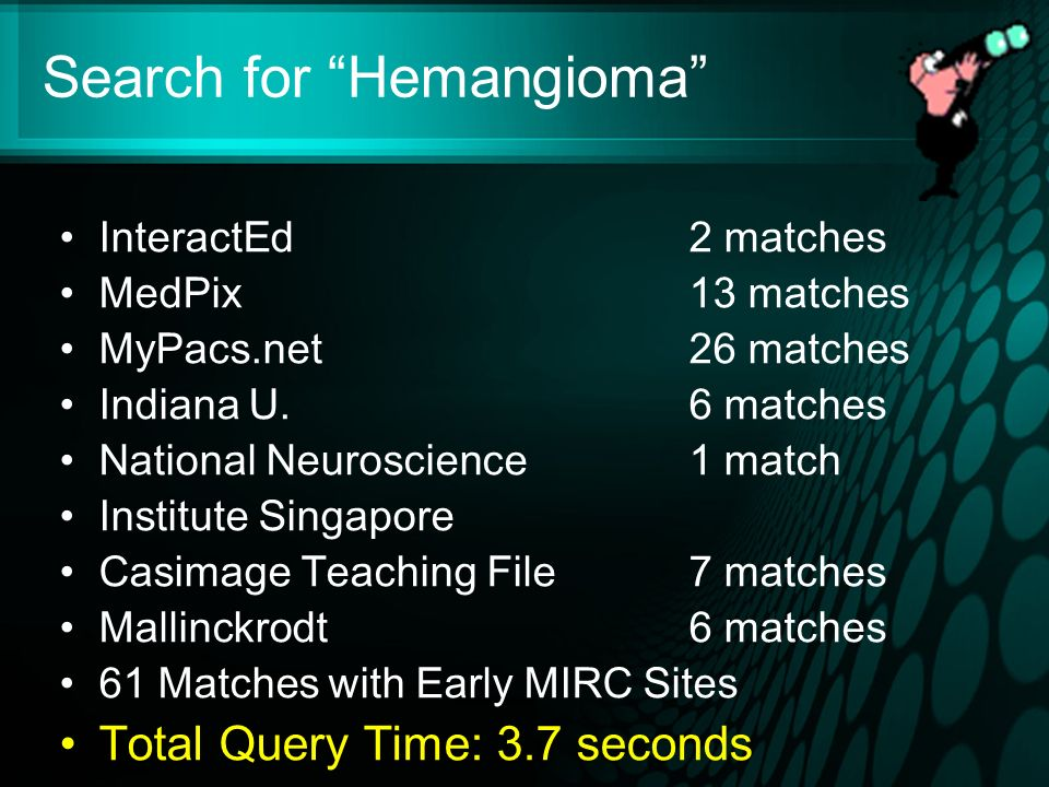 Search for Hemangioma InteractEd2 matches MedPix13 matches MyPacs.net26 matches Indiana U.6 matches National Neuroscience1 match Institute Singapore Casimage Teaching File7 matches Mallinckrodt 6 matches 61 Matches with Early MIRC Sites Total Query Time: 3.7 seconds
