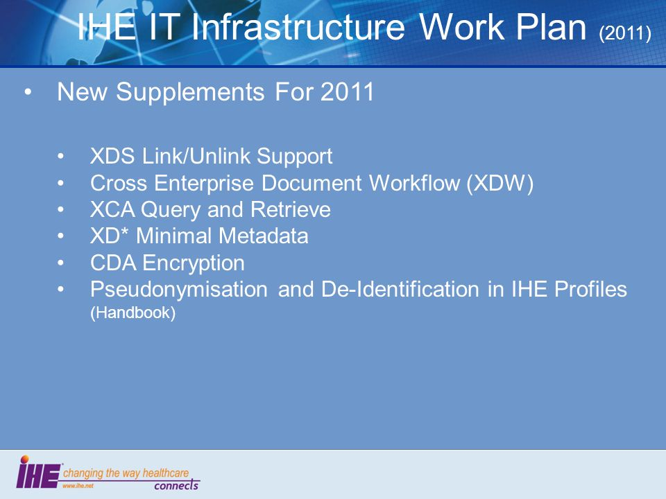 IHE IT Infrastructure Work Plan (2011) New Supplements For 2011 XDS Link/Unlink Support Cross Enterprise Document Workflow (XDW) XCA Query and Retriev