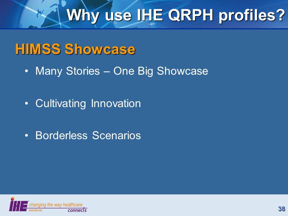 38 Why use IHE QRPH profiles.