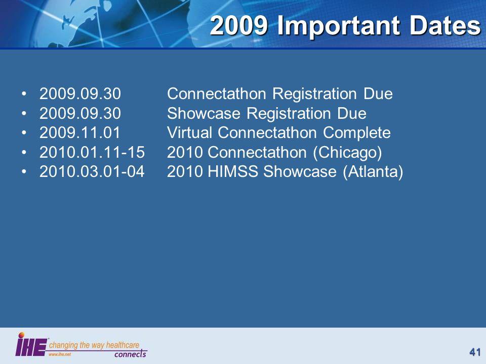 41 2009 Important Dates 2009.09.30 Connectathon Registration Due 2009.09.30 Showcase Registration Due 2009.11.01Virtual Connectathon Complete 2010.01.11-152010 Connectathon (Chicago) 2010.03.01-042010 HIMSS Showcase (Atlanta)