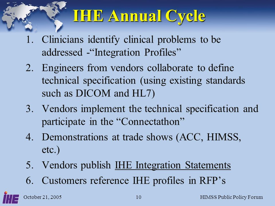 October 21, 2005HIMSS Public Policy Forum10 IHE Annual Cycle 1.Clinicians identify clinical problems to be addressed -Integration Profiles 2.Engineers from vendors collaborate to define technical specification (using existing standards such as DICOM and HL7) 3.Vendors implement the technical specification and participate in the Connectathon 4.Demonstrations at trade shows (ACC, HIMSS, etc.) 5.Vendors publish IHE Integration Statements 6.Customers reference IHE profiles in RFPs