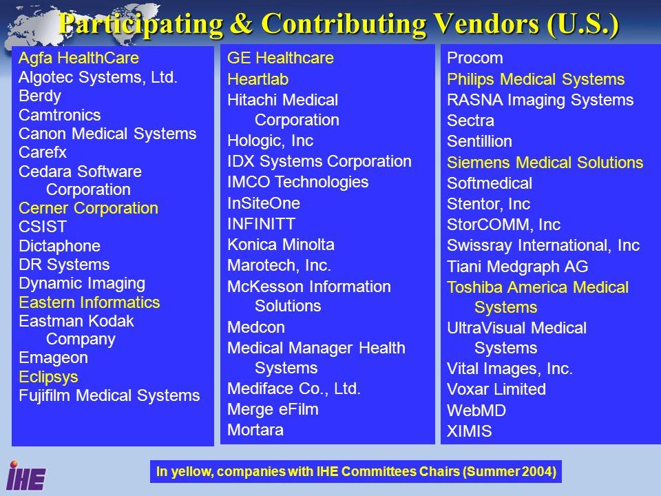 Participating & Contributing Vendors (U.S.) Agfa HealthCare Algotec Systems, Ltd. Berdy Camtronics Canon Medical Systems Carefx Cedara Software Corpor