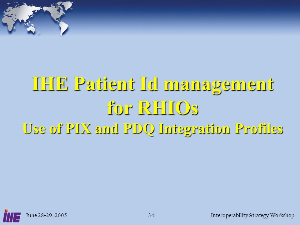 June 28-29, 2005Interoperability Strategy Workshop34 IHE Patient Id management for RHIOs Use of PIX and PDQ Integration Profiles