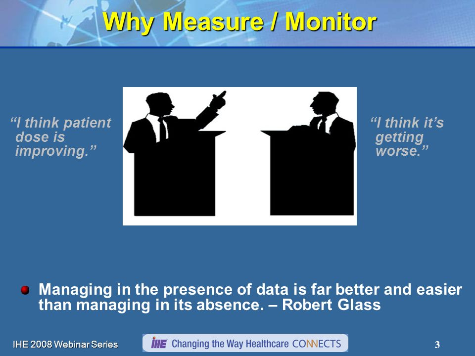IHE 2008 Webinar Series 3 Why Measure / Monitor I think patient dose is improving. I think its getting worse. Managing in the presence of data is far