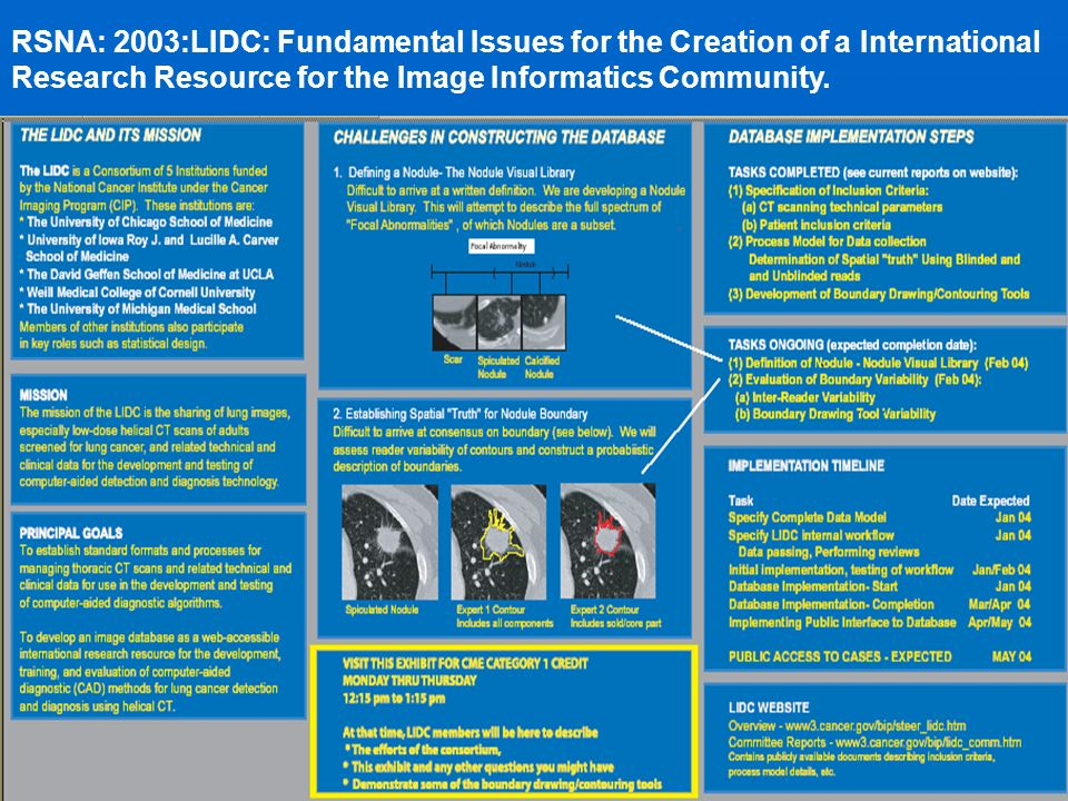 RSNA: 2003:LIDC: Fundamental Issues for the Creation of a International Research Resource for the Image Informatics Community.