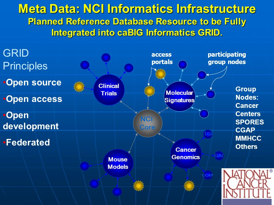 Molecular Signatures Clinical Trials NCI Core access portals participating group nodes Cancer Genomics TGI GAI CCAP Mouse Models Meta Data: NCI Informatics Infrastructure Planned Reference Database Resource to be Fully Integrated into caBIG Informatics GRID.