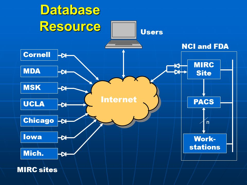 Database Resource Internet NCI and FDA Users MIRC sites PACS MIRC Site Work- stations n Cornell MDA MSK UCLA Chicago Iowa Mich.