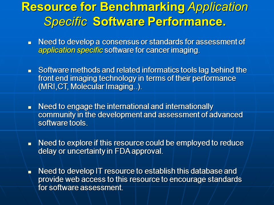 Resource for Benchmarking Application Specific Software Performance.