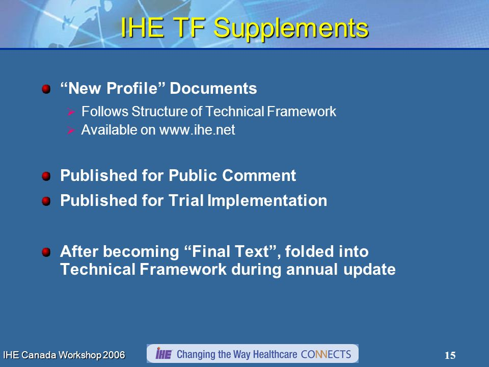 IHE Canada Workshop 2006 15 IHE TF Supplements New Profile Documents Follows Structure of Technical Framework Available on www.ihe.net Published for P