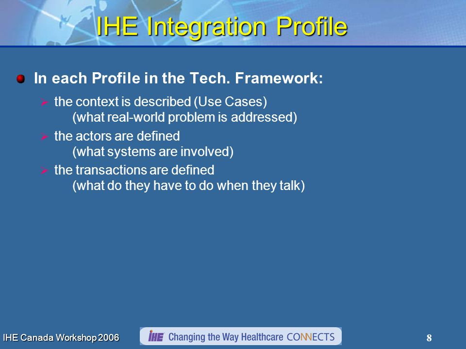 IHE Canada Workshop 2006 8 IHE Integration Profile In each Profile in the Tech. Framework: the context is described (Use Cases) (what real-world probl