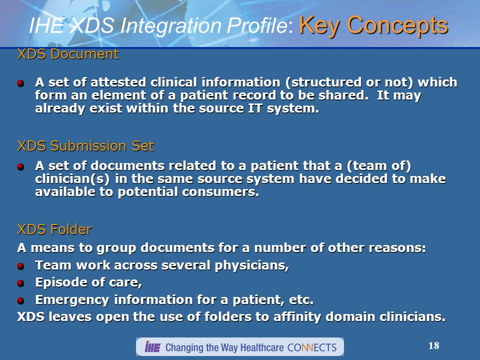 18 XDS Document A set of attested clinical information (structured or not) which form an element of a patient record to be shared. It may already exis