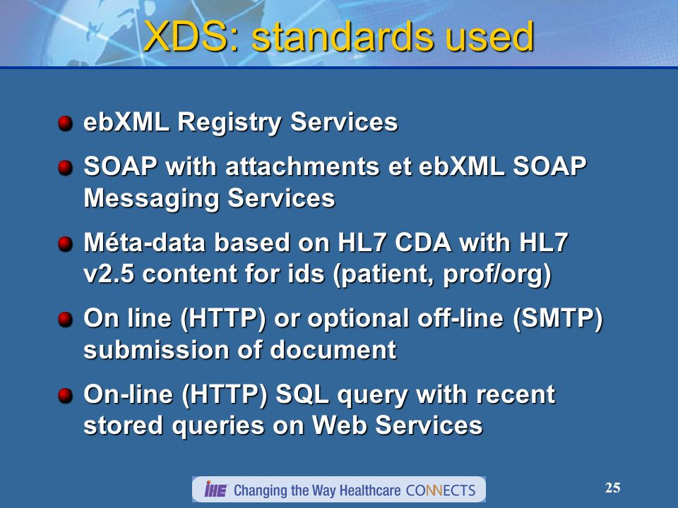 25 XDS: standards used ebXML Registry Services SOAP with attachments et ebXML SOAP Messaging Services Méta-data based on HL7 CDA with HL7 v2.5 content