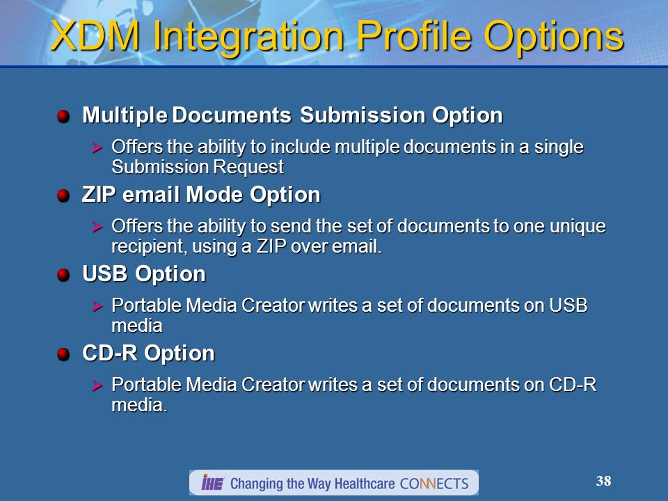 38 XDM Integration Profile Options Multiple Documents Submission Option Offers the ability to include multiple documents in a single Submission Reques