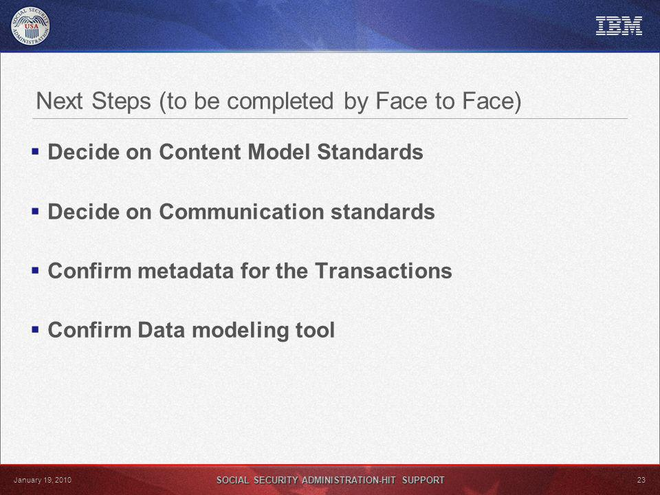 SOCIAL SECURITY ADMINISTRATION-HIT SUPPORT 23 January 19, 2010 Next Steps (to be completed by Face to Face) Decide on Content Model Standards Decide on Communication standards Confirm metadata for the Transactions Confirm Data modeling tool