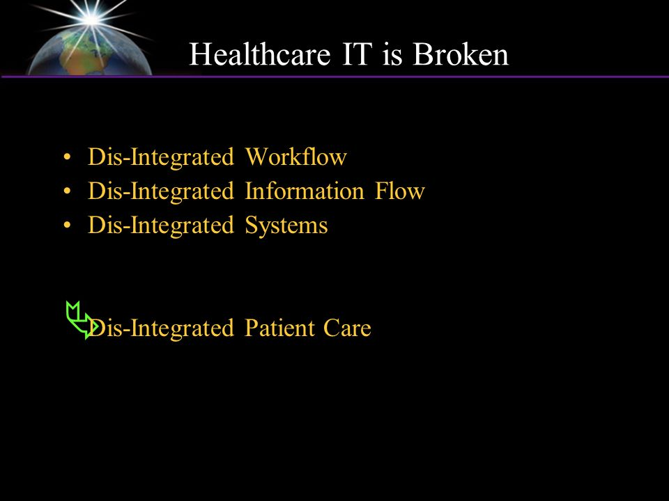 Healthcare IT is Broken Dis-Integrated Workflow Dis-Integrated Information Flow Dis-Integrated Systems Dis-Integrated Patient Care