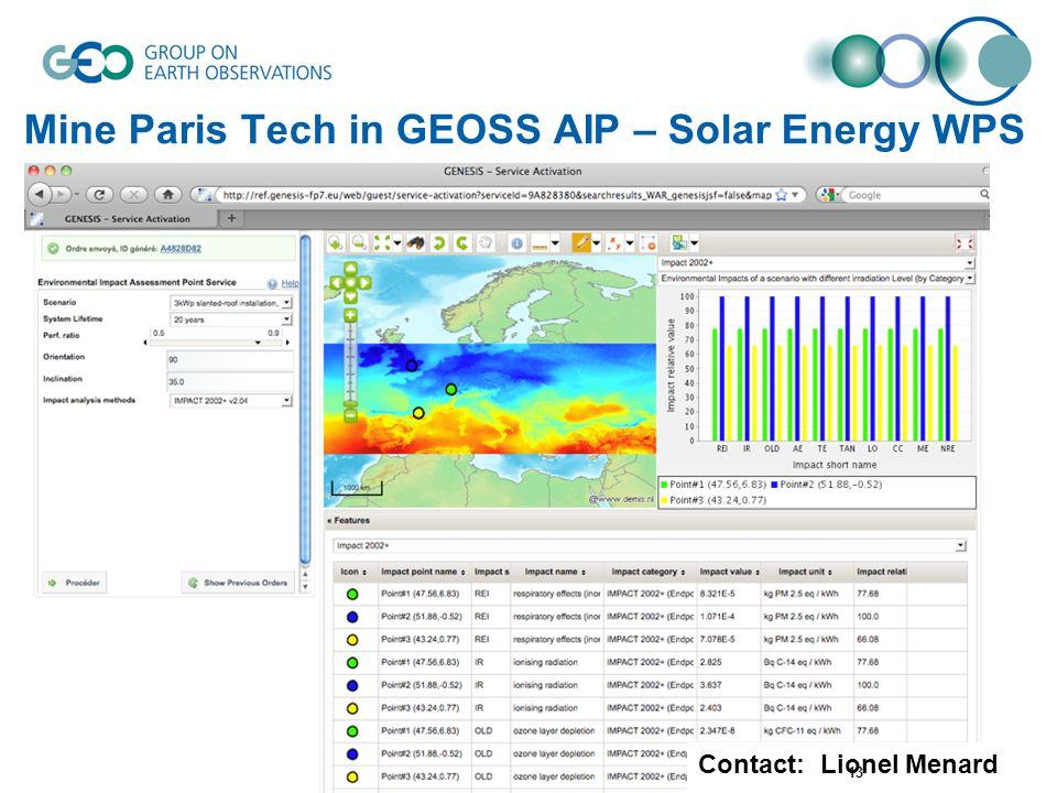Mine Paris Tech in GEOSS AIP – Solar Energy WPS Contact: Lionel Menard 13