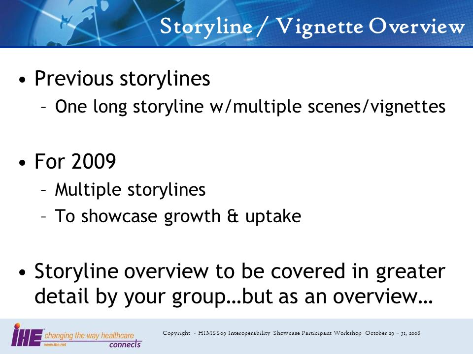 Copyright - HIMSS09 Interoperability Showcase Participant Workshop October 29 – 31, 2008 Storyline / Vignette Overview Previous storylines –One long s