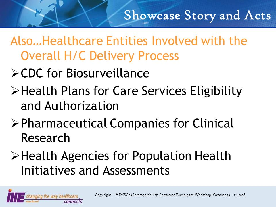 Copyright - HIMSS09 Interoperability Showcase Participant Workshop October 29 – 31, 2008 Showcase Story and Acts Also…Healthcare Entities Involved with the Overall H/C Delivery Process CDC for Biosurveillance Health Plans for Care Services Eligibility and Authorization Pharmaceutical Companies for Clinical Research Health Agencies for Population Health Initiatives and Assessments