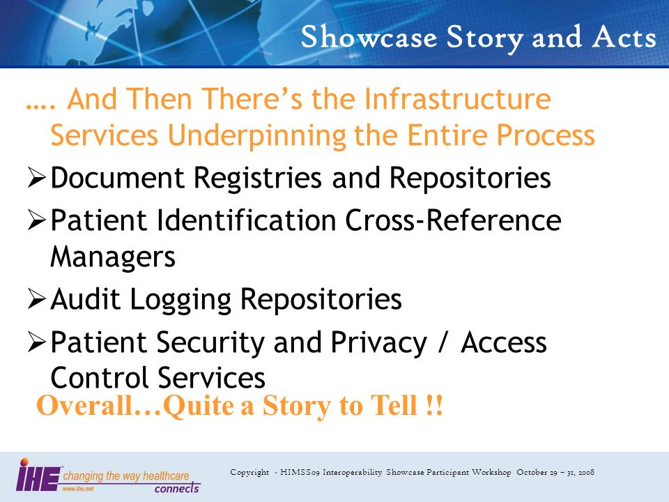 Copyright - HIMSS09 Interoperability Showcase Participant Workshop October 29 – 31, 2008 Showcase Story and Acts …. And Then Theres the Infrastructure