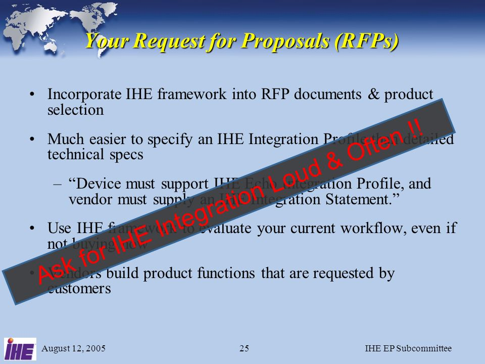 August 12, 2005IHE EP Subcommittee24 IHE Annual Cycle 1.Clinicians identify clinical problems to be addressed - Integration Profiles 2.Engineers from vendors collaborate to define technical specification (using existing standards such as DICOM and HL7) 3.Vendors implement the technical specification and participate in the Connectathon 4.Demonstrations at trade shows (ACC, HIMSS, etc.) 5.Vendors publish IHE Integration Statements 6.Customers reference IHE profiles in RFPs