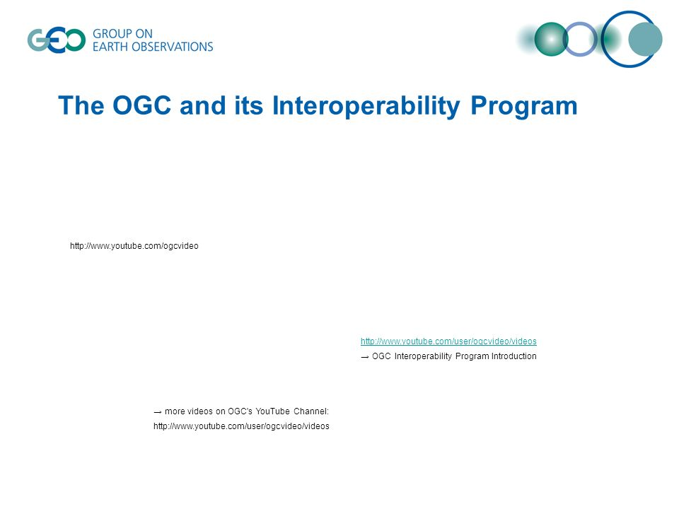 The OGC and its Interoperability Program http://www.youtube.com/ogcvideo http://www.youtube.com/user/ogcvideo/videos OGC Interoperability Program Intr