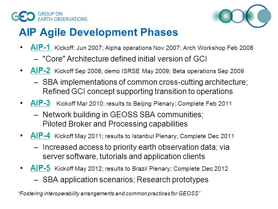 AIP Agile Development Phases AIP-1 Kickoff: Jun 2007; Alpha operations Nov 2007; Arch Workshop Feb 2008AIP-1 –