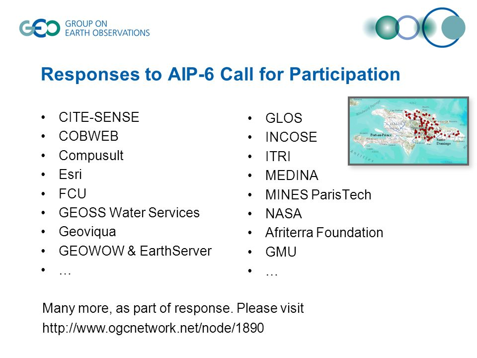 Responses to AIP-6 Call for Participation CITE-SENSE COBWEB Compusult Esri FCU GEOSS Water Services Geoviqua GEOWOW & EarthServer … GLOS INCOSE ITRI M