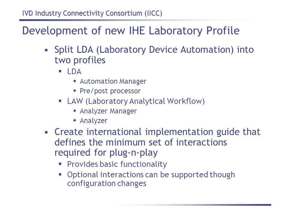 IVD Industry Connectivity Consortium (IICC) Development of new IHE Laboratory Profile Split LDA (Laboratory Device Automation) into two profiles LDA A