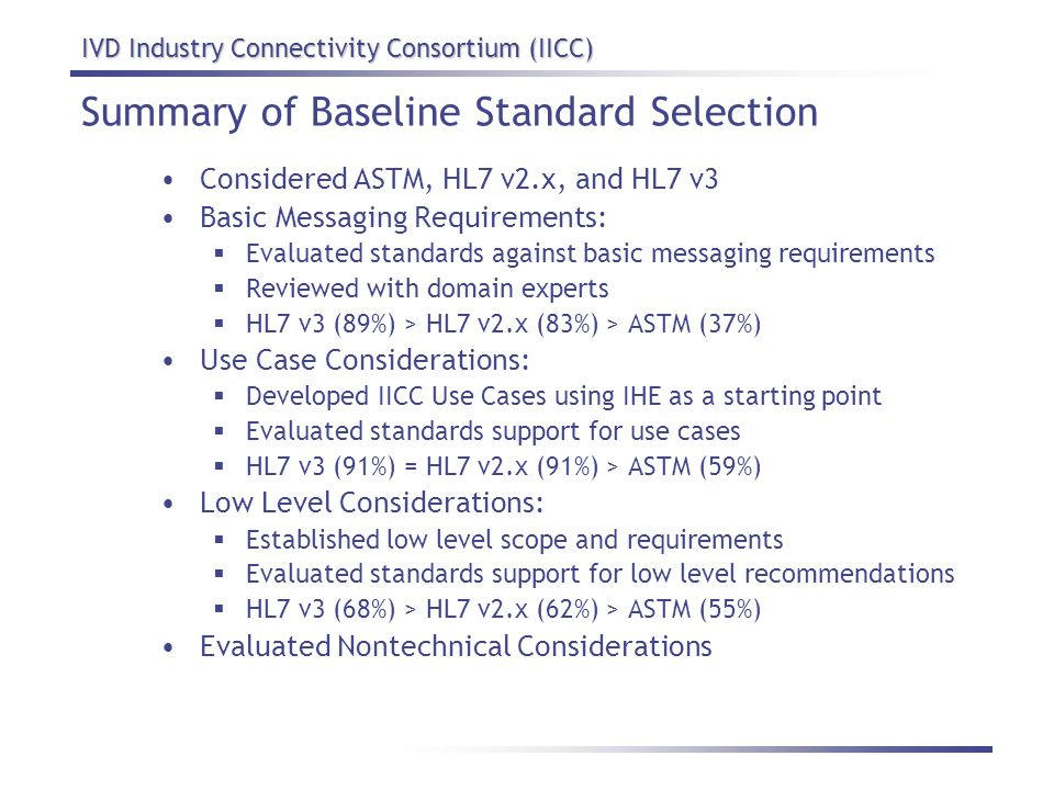 IVD Industry Connectivity Consortium (IICC) Summary of Baseline Standard Selection Considered ASTM, HL7 v2.x, and HL7 v3 Basic Messaging Requirements: