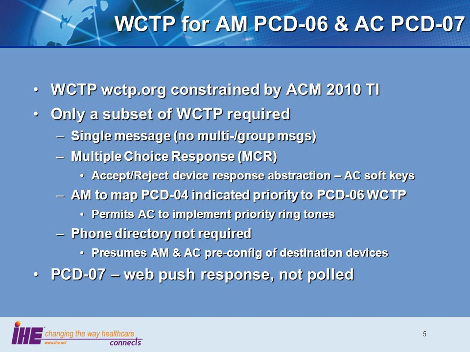 5 WCTP for AM PCD-06 & AC PCD-07 WCTP wctp.org constrained by ACM 2010 TIWCTP wctp.org constrained by ACM 2010 TI Only a subset of WCTP requiredOnly a