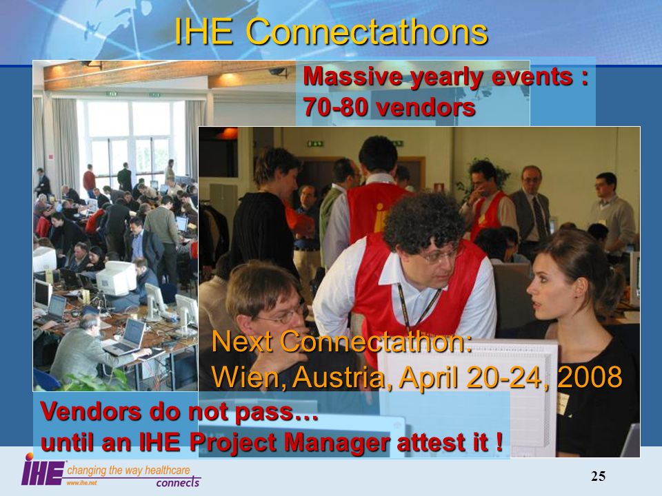 25 Massive yearly events : 70-80 vendors 250-300 engineers 100-120 systems ….integrated in 5 days IHE Connectathons Vendors do not pass… until an IHE Project Manager attest it .