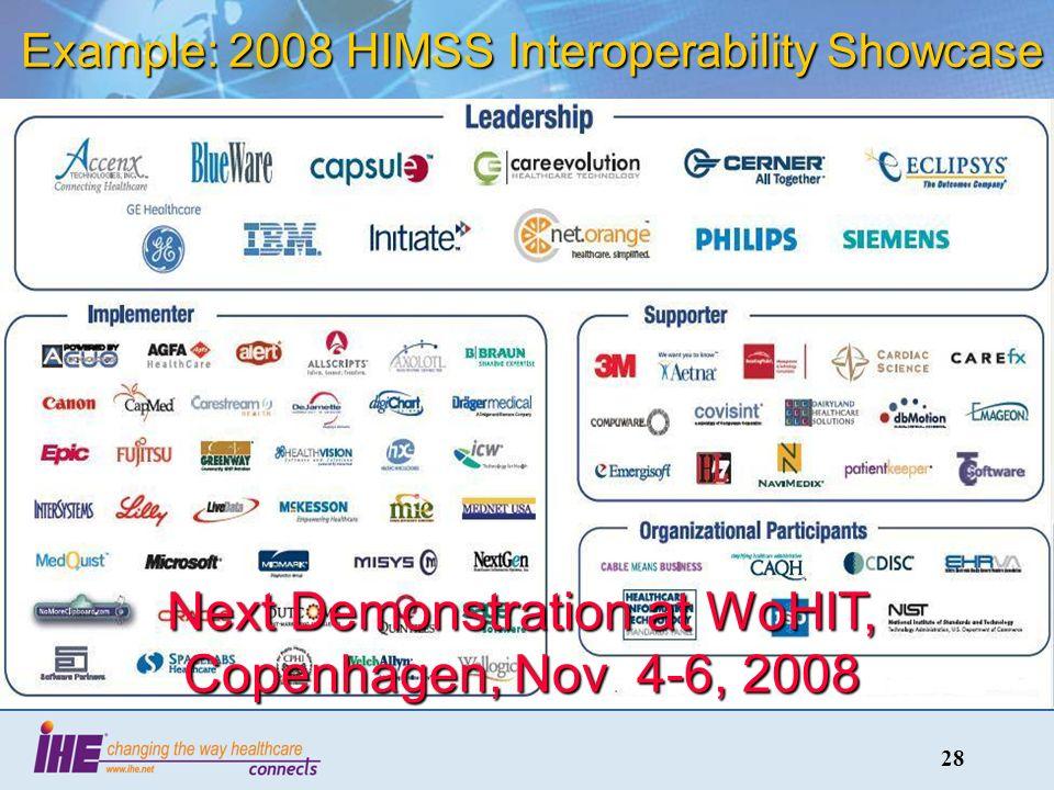 28 Example: 2008 HIMSS Interoperability Showcase Next Demonstration at WoHIT, Copenhagen, Nov 4-6, 2008
