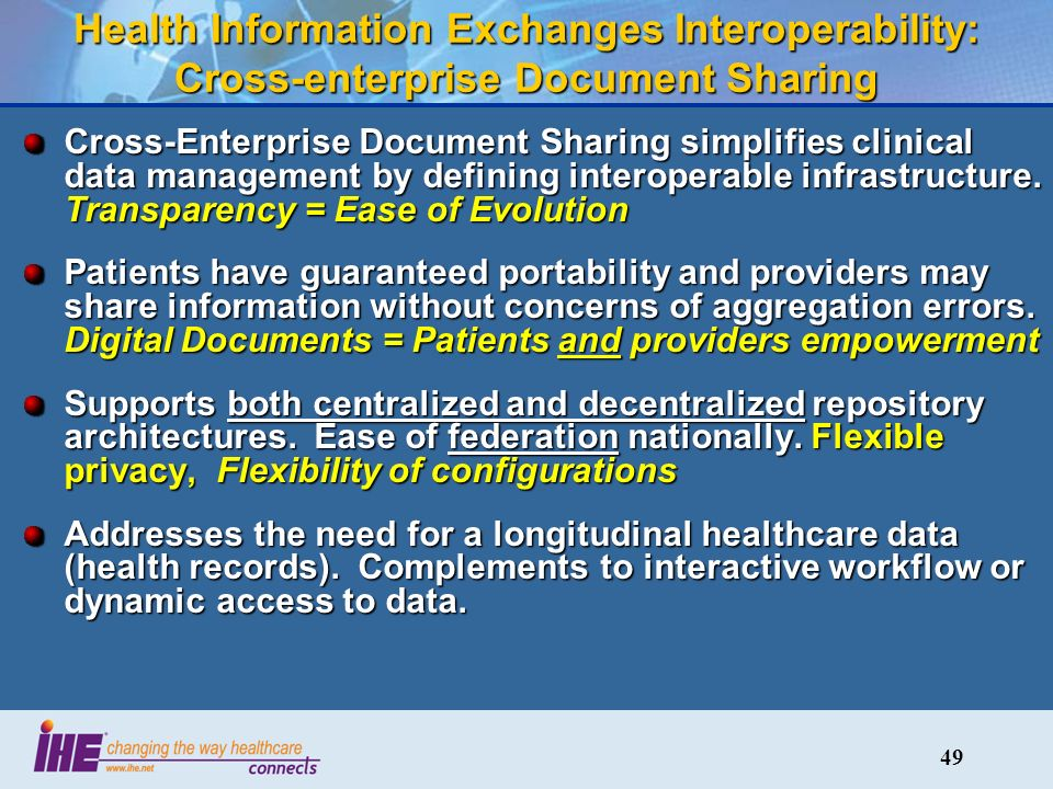 49 Health Information Exchanges Interoperability: Cross-enterprise Document Sharing Cross-Enterprise Document Sharing simplifies clinical data management by defining interoperable infrastructure.