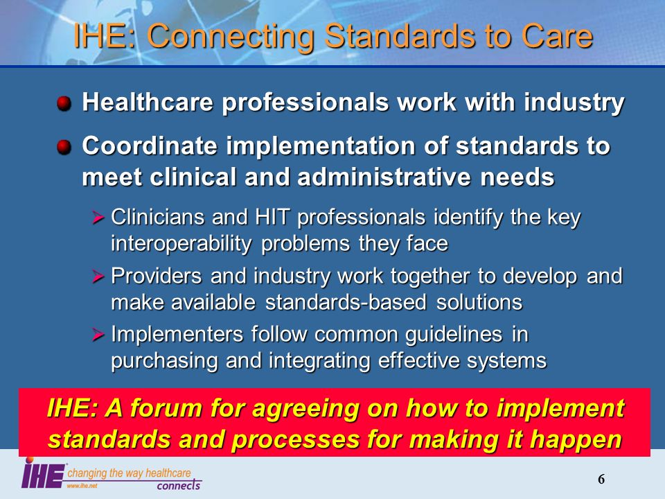 6 IHE: Connecting Standards to Care Healthcare professionals work with industry Coordinate implementation of standards to meet clinical and administrative needs Clinicians and HIT professionals identify the key interoperability problems they face Clinicians and HIT professionals identify the key interoperability problems they face Providers and industry work together to develop and make available standards-based solutions Providers and industry work together to develop and make available standards-based solutions Implementers follow common guidelines in purchasing and integrating effective systems Implementers follow common guidelines in purchasing and integrating effective systems IHE: A forum for agreeing on how to implement standards and processes for making it happen