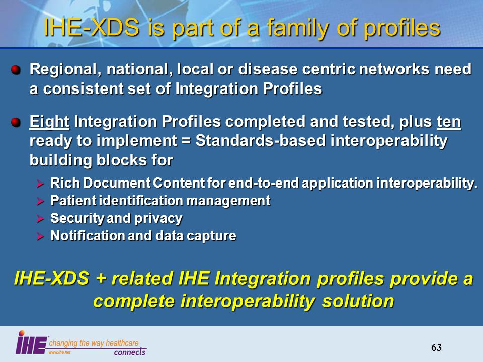 63 IHE-XDS is part of a family of profiles Regional, national, local or disease centric networks need a consistent set of Integration Profiles Eight Integration Profiles completed and tested, plus ten ready to implement = Standards-based interoperability building blocks for Rich Document Content for end-to-end application interoperability.