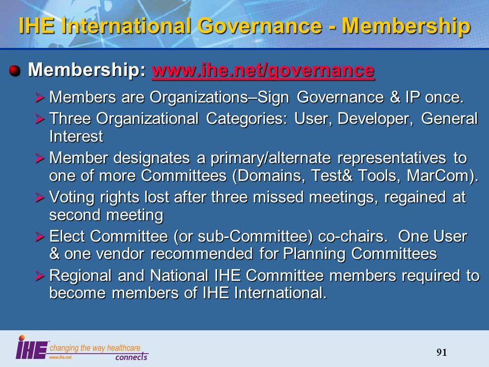 91 IHE International Governance - Membership Membership: www.ihe.net/governance www.ihe.net/governance Members are Organizations–Sign Governance & IP